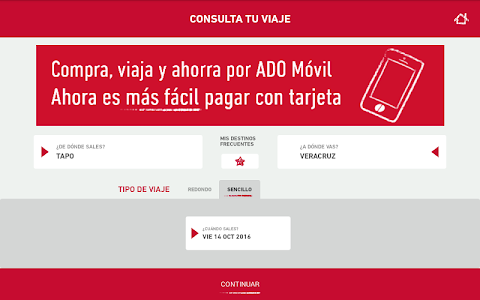 screenshot of ADO Móvil version 4.2.14