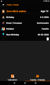 screenshot of Age Calculator - Birthday Calendar & Reminder version 1.1