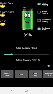 screenshot of Battery Charge Alarm 2019 version 16