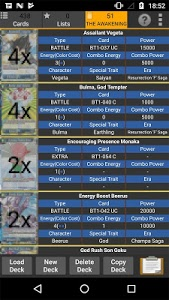 screenshot of Database for Dragon Ball Super Card Game version 1.25