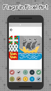 screenshot of Flags pixel art - Color by Number Flags version 1.1.1