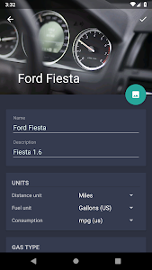 screenshot of Fuelio: gas log, costs, car management, GPS routes version 7.5.12