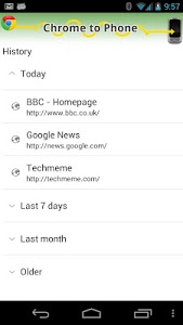 screenshot of [DEPRECATED] Chrome to Phone version 2.3.3