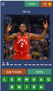 screenshot of Guess the basketball player from NBA version 3.2.9z