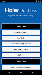 screenshot of Haier Ductless Help version 1.1