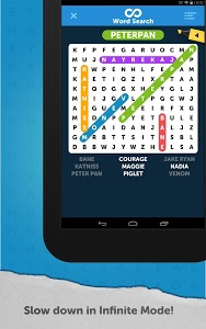 screenshot of Infinite Word Search Puzzles version Varies with device