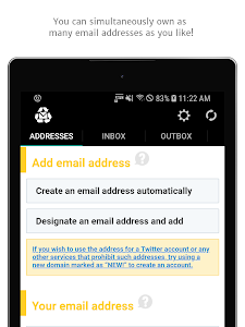 screenshot of Instant Email Address - Multipurpose free email! version 2019.01.28.1