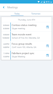 screenshot of Skype for Business for Android version 6.25.0.27