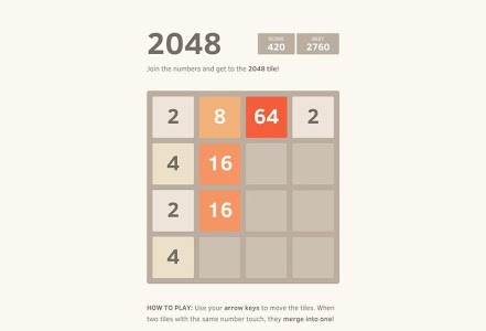 screenshot of Special edition 2048 version 1.0