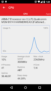 screenshot of Task Manager: monitor CPU, RAM, and battery version 1.0.55