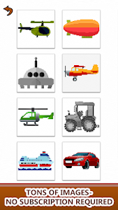 screenshot of Vehicles Color by Number: Cars,Planes,Bikes,Trains version 1.1