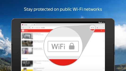 screenshot of Yandex Browser with Protect version Varies with device