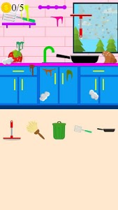 screenshot of kitchen cleaning game version 1.0